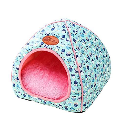 thematys Colchoneta Material de Felpa Cama de Almohada Lavable y Resistente a los arañazos para Perros y Gatos (S, Azul)