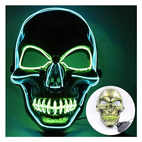 QMMD Masque LED Halloween, Masques La Purge élection en Lumière LED Masque Pour Halloween Festival Cosplay Costume Décorations de Fête, Alimenté par Batterie,Golden Color