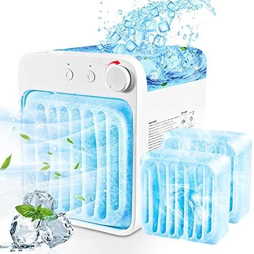 Condizionatore Portatile Mini Personale Raffreddatore D'aria Air Conditioner da tavolo 4 In 1 Ventilatore Da Tavolo Mini Air Cooler per Climatizzazione Atomizzazione Blu Led Luce Per Ufficio Domestico