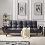DKLGG Futon Sofa Convertible Couches Sleeper Bed for Living Room Fold Up and Down Recliner Couch (Gray)