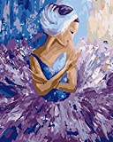 DIY Digital Lienzo Aceite Pintura Ballet jupe violette Regalo para Adultos niños Pintura por número Kits Home Decorations 40x50cm with frame