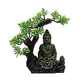 yqs Decoración de pecera Artesanía Zen Buddha Figurine Aquarium escondite ocultación Cave Fish Tank Adornos
