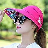 Sombreros para el Sol para Mujeres Viseras Sombrero PescaPlaya Sombrero Protección contra los Rayos UV Negro Casual Mujeres Verano Gorras Cola de Caballo Sombrero de ala Ancha-2 Rose Red
