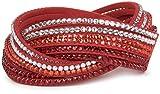 styleBREAKER weiches Strass Armband, eleganter Armschmuck mit Strassteinen, Wickelarmband, 6x1-Reihig, Damen 05040005, Farbe:Rot/Klar-Orange-Rot