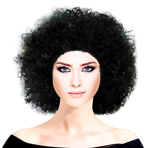 Peluca de Payaso - Afro 70s - Hombre - Mujer - Adultos - Carnaval - Color Negro - Zulu - Idea de Regalo para cumpleaños