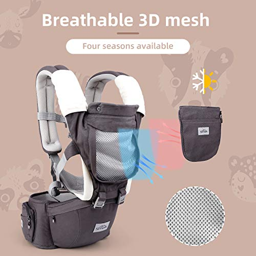 SIMBR Baby Carrier Newborn to Toddler (infantino 3-36 Months) with Hip Seat, Convertible 12-in-1 Ways to Carry Backpack Use, Adjustable Size for Men and Women, Ergonomic Design 360° Safety