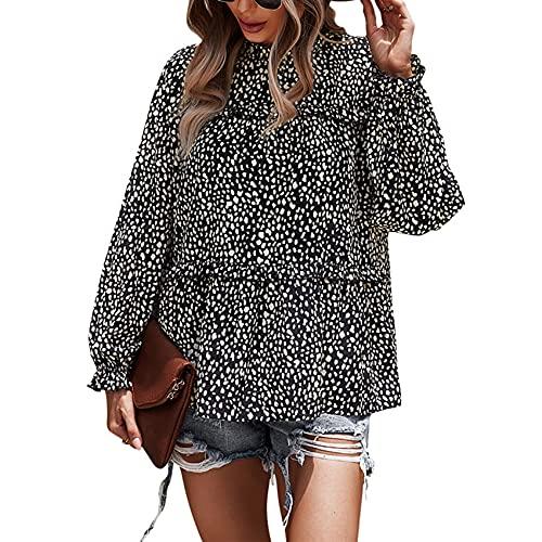 Casual Moda Mujer Cuello Redondo Estampado De Leopardo Suelta Camiseta De Manga Larga PulóVer Camisa De Gasa Top Mujer