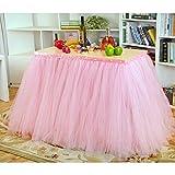 AKDSteel - Tovaglia in tulle, per matrimoni, feste di compleanno, torte, dessert, buffet, colore rosa, 80 x 91,5 cm