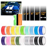 EZAUTOWRAP Free Tool Kit 6' Wide 10FT Long Matte Gold Racing Stripes Vinyl Wrap Rally Decals Stripe Sticker