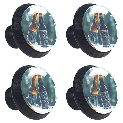 ATOMO 4 cubos de hielo de cerveza de cristal de 30 mm para cajón, tirador Usd para armario, cajón