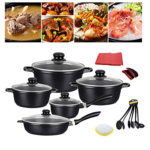 15 Piece Professional Grade Aluminum Non-Stick Pots & Pans Set - Induction Cookware Set for Home Restaurant - Best Gift
