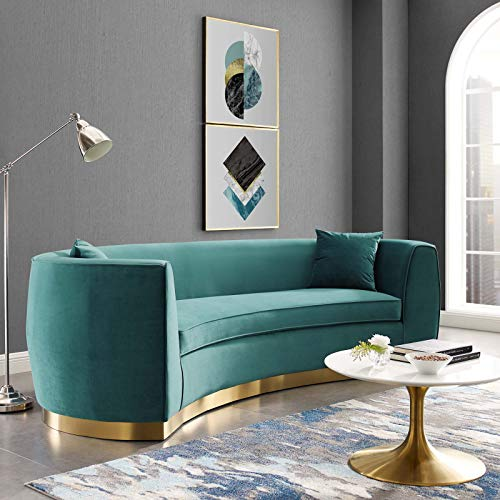 Modway Resolute Retro Modern Curved Back Upholstered Velvet with Two Throw Pillows, Sofa, Teal