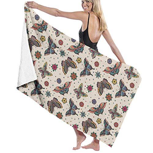 MJDIY Toallas,Oldschool Butterfly Tattoo Toallas de baño de baño de algodón de Gran tamaño 80x130cm