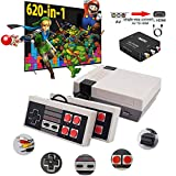 620 Retro Game Console,Classic Mini Game System with Preloaded 620 Games and 2 Nes Classic Controllers,AV and HDMI Output Plug & Play Nes Mini Console,Old School Games Console for Kids and Adults