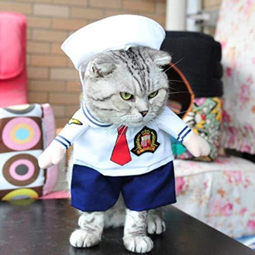 Quhdyddj Vestiti per Cani Cool Pet Dog Costume Suit Cuccioli Vestiti Cappotto Abbigliamento per Cani Costume Outfit Infermiera Pet Suit, Marinaio, S