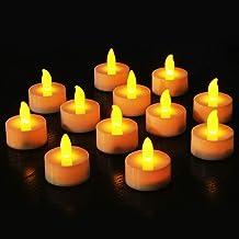 مصابيح LED الشموع 12 قطعة تعمل بالبطارية، ضوء الشاي LED رومانسي بلا لهب