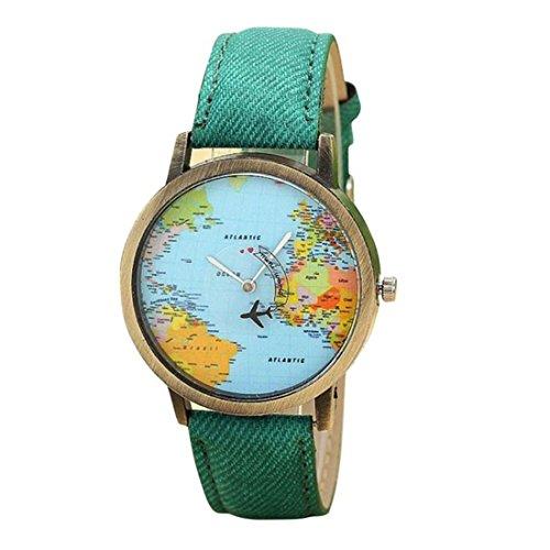 Harrystore 2017 Nuevos Viajes mundiales en avión Mapa Mujeres Vestido Reloj Denim Fabric Band Watch (Verde)
