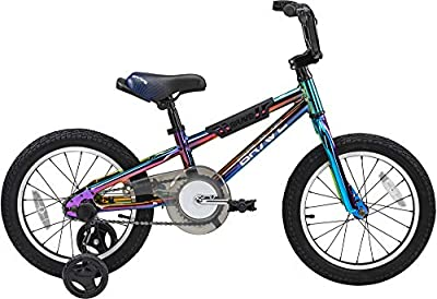 """Revere Bicycles Brave 16"""" Freestyle BMX Galaxy Oil Slick Kids Bike for Boys and Girls. Lightweight Aluminum Frame and Fork. Tool-Less Quick Release Training Wheels. Easy to Ride!"""