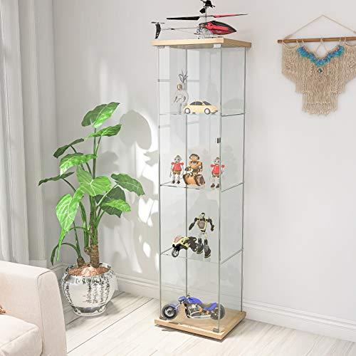 Vitrina de cristal de pie de 15,2 x 17,2 x 14,5 cm, moderno, armario de madera con 4 estantes, vitrina para bar, cocina, salón, dormitorio y oficina decoración (natural)