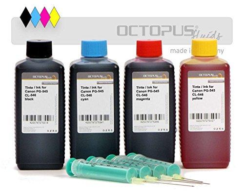 Octopus 4 x 100 ml Nachfülltinte, Druckertinte kompatibel für Canon PG-545 und CL-546 Druckerpatronen, Pixma MG 2455, 2400, 2450, 2500, 2550, 2555, 2950, 2900 MX 490, MX 495,IP 2850, IP 2800