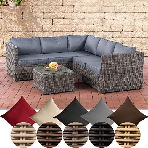 CLP Genero Poly-Rattan Lounge Set 5 mm Garden Set with 5 Seats Complete Set: 3 Seater Sofa + 2 Seater Sofa + Table Colour: Grey Mottled Upholstery Colour: Iron Grey