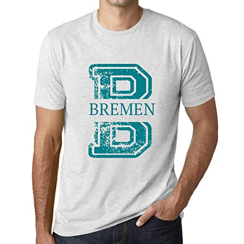 One in the City Hombre Camiseta Vintage T-Shirt Gráfico Letter B Countries and Cities Bremen Blanco Moteado