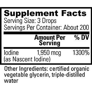 Global Healing Center Detoxadine, Organic Nascent Liquid Iodine Supplement Drops for Thyroid Support, 1950 mcg, Non-GMO, Vegan Friendly, 200 Servings, 6-Month Supply (1 Fl Oz)
