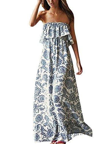 Yidarton Damen Sommer Kleider Blau und Weiß Porzellan Trägerlos Boho Maxi Lang Kleid Ärmelloses CocktailKleid Strandkleider