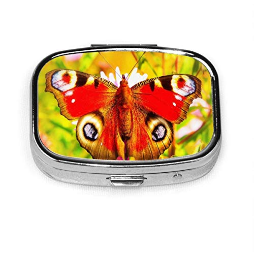 Painted Peacock Insect Butterfly 203 Pill Case,Square Pill Box Compact Two Compartment Tablet Organizer for Purse Pocket Traveling-Pansy Purple Flower 202