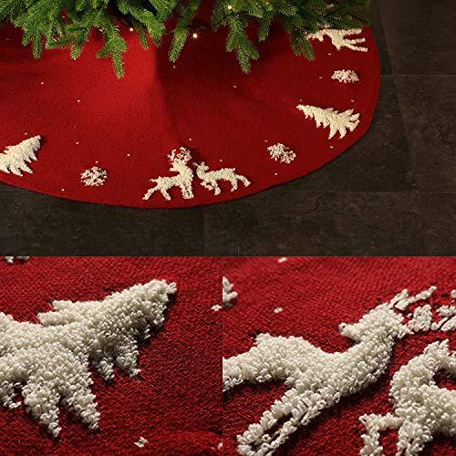 Tokenhigh Gonna per Albero di Natale,120 cm /47 inch Peluche Tappeto Copertura Inferiore Decorazione di Festa di Natale,Decorazioni della Festa di Natale (Fucsia)