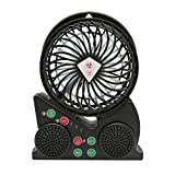 I/O Crest SY-ACC50108 Outdoor Portable Bluetooth Speaker Fan USB Rechargeable Set of 1 Black