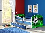 Clamaro 'Fantasia Blau' 140 x 70 Kinderbett Set inkl. Matratze, Lattenrost und mit Bettkasten Schublade, mit verstellbarem Rausfallschutz und Kantenschutzleisten, Design: 14 Fußball Toor