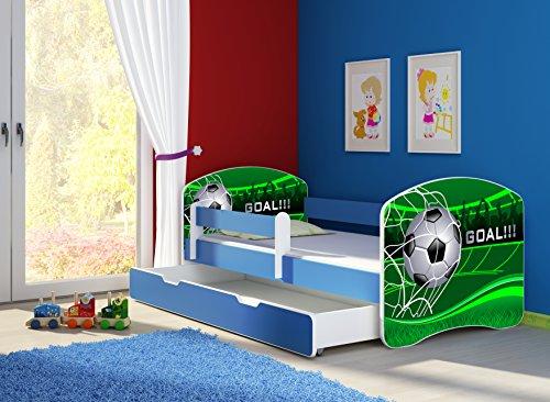 Clamaro 'Fantasia Blau' 160 x 80 Kinderbett Set inkl. Matratze, Lattenrost und mit Bettkasten Schublade, mit verstellbarem Rausfallschutz und Kantenschutzleisten, Design: 14 Fußball Toor