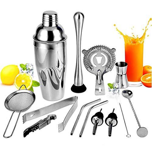 ZRXRY Cocktail Shaker Set, 13 Stück Barkeeper Kit für Drink Mischen, Edelstahl-Stab-Werkzeug mit 24 Unzen Martini Shaker, Cocktail-Geschenk-Set