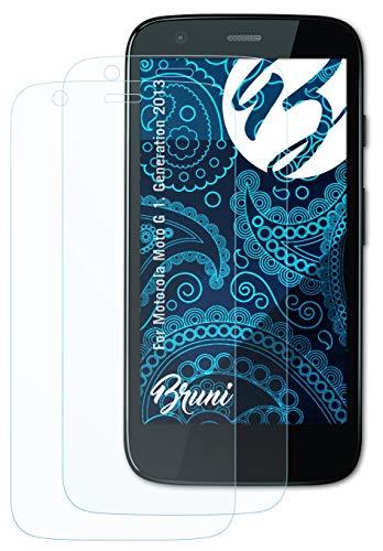 Bruni Schutzfolie kompatibel mit Motorola Moto G 1. Generation 2013 Folie, glasklare Bildschirmschutzfolie (2X)