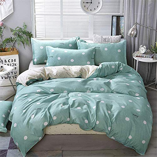 BH-JJSMGS Duvet cover bed set 4-piece set, with bed sheets + 2 pillows, stylish print modern romantic heart-shaped microfiber bedding, green 200x230cm