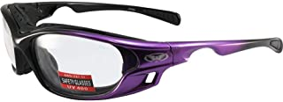 Global Vision Ratchet Padded Motorcycle Safety Sunglasses Purple Frames Clear Lenses ANSI Z87.1