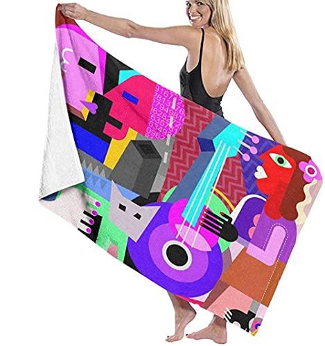 Toalla De Playa Microfibra,Picasso La Pareja De Baile Y La Mujer Tocando La Guitarra Danza Fina Cubismo Abstracto Toalla De Baño Grande Toalla De Playa Ligera Viajes Familiares En Hote