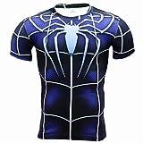 COJETER Adulto Palestra Manica Corta Sport Fitness Wicking Supereroi Spide Man Camicia Blu Scuro