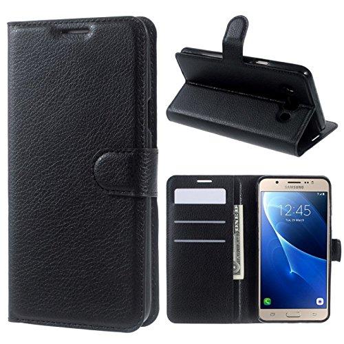 COPHONE® Etui Coque Housse de Protection Noir en Cuir pour Samsung Galaxy J7 2016 J710 Etui porteufeuille Noir Haute qualité pour Samsung J7 2016 J710