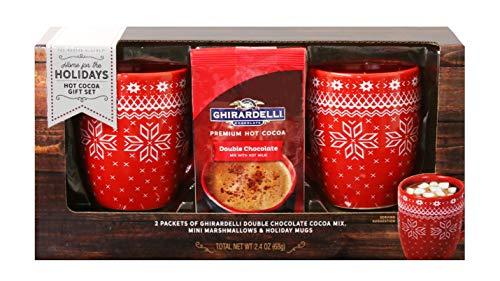 Thoughtfully Gifts, Ghirardelli Cocoa for Two Gift Set, Includes 2 Ceramic Mugs, Ghirardelli Double Hot Chocolate Cocoa and Mini Marshmallows