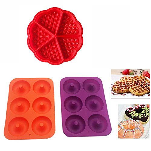 2 Silicona Donut Moldes de Silicona,2 Waffle Mold Silicona Horno Cacerola para Hornear Galletas para Tarta Muffin Cocina Herramientas Accesorios de Cocina