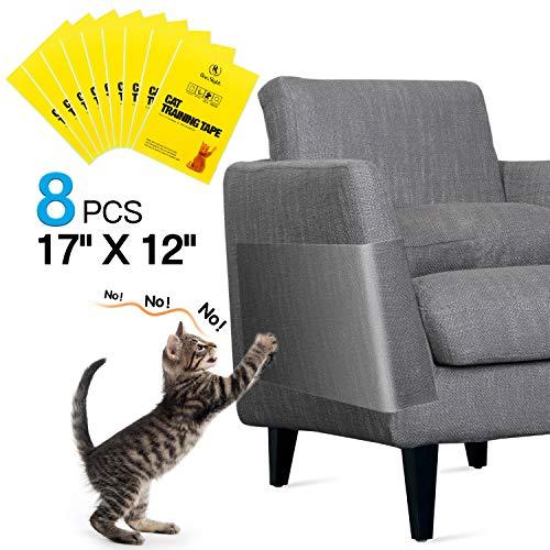One Sight 8 Stücke Kratzschutz Katze Sofa, Anti-Kratz-Möbelschutz, Anti-Kratzer Katzen Couch Schutz für Sofa, Tür, Möbel, Couch, Wand, Doppelseitig Transparent Cat Furniture Protector (30,5 x 43,2 cm)