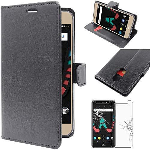ebestStar - Coque Compatible avec Wiko Upulse Etui PU Cuir Housse Portefeuille Porte-Cartes Support Stand, Noir + Film Protection écran Verre Trempé [Appareil: 153.5 x 77.5 x 8.5mm, 5.5'']