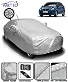 Fabtec Waterproof and Heat Resistant Metallic Silver Mirror and Antenna Pocket Car Body Cover for Maruti Baleno with Soft Cotton Lining (Full Bottom Elastic, Full Sized, Triple Stitched)