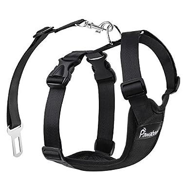PAWABOO Dog Safety Vest Harness, Pet Dog Adjustable Car Safety Mesh Harness Travel Strap Vest with Car Seat Belt Lead Clip, Extra Large Size, BLACK