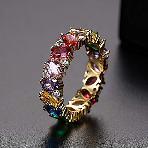 FGFDHJ Compromiso de Boda de Piedra Trapezoidal de Arco Iris Colorido Hecho a Mano para Mujeres Regalos de eternidad