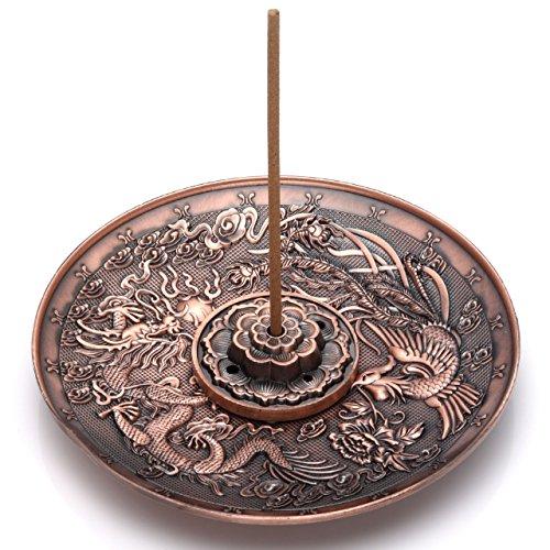 Jovivi Räucherstäbchenhalter aus Messing, Lotus-Stick, Räuchergefäß und Drachen- und Phönixkegel, Rückfluss mit Aschefänger (5 Löcher)