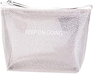 GRH Small Coin Purse with Zip Glitter Design Rubberised Material - Silver