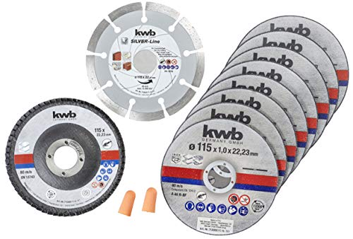 KWB 712041 Dünn Diamant-Trennscheibe für Winkelschleifer 115 mm Flex-Scheibe f. Edel-Stahl INOX in Aufbewahrungs-Dose inkl. Ohrstöpsel und Schleifscheibe ABM. 115 x 1,0 x 22,23